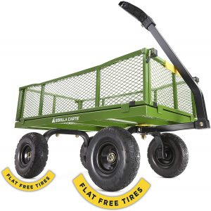 Gorilla Carts 4 Cu. Steel Utility Cart with No-Flat Tires
